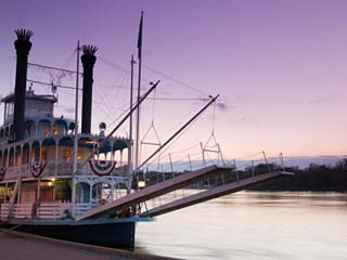 Paddlewheel Riverboat Julia Belle Swain on the Mississippi River, La Crosse, Wisconsin