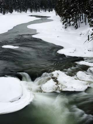 Snowy River and Winter Landscape, Yellowstone National Park, UNESCO World Heritage Site, Wyoming, U
