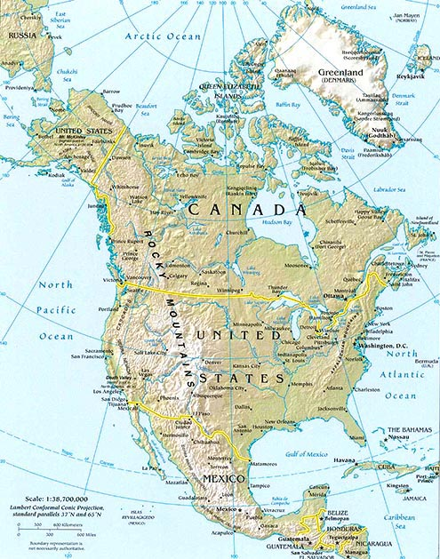North America Map Map Of North America Facts Geography - Eastern us topographic map