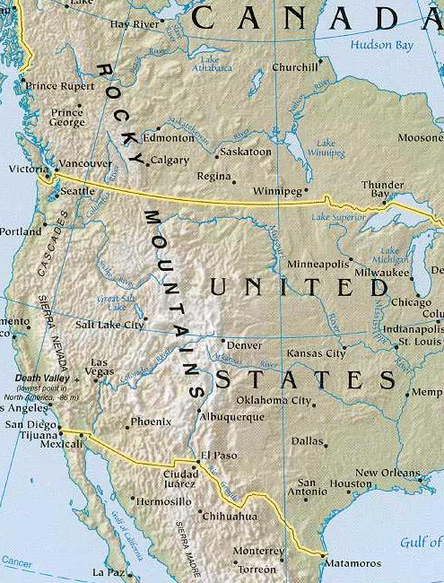 north america map geography of with rocky mountain range map