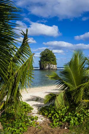 Single Rock at Coconut Point on Tutuila Island, American Samoa, South Pacific, Pacific