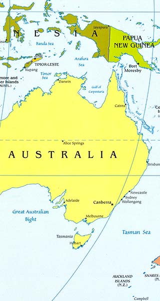 australia latitude longitude map