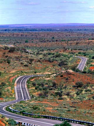 Highway Winding Through Countryside Outside Broken Hill, Broken Hill, New South Wales, Australia