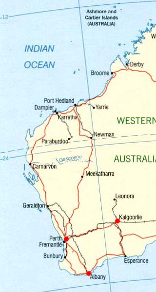 Western Australia latitude and longitude map