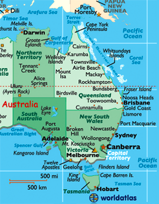 Map of southern australia with cities australia photos assorted photos australia world atlas freerunsca Image collections