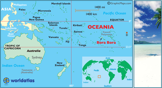 locator map of Bora Bora