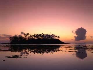 Dawn Sky Over Motu Taakoka, Mirrored in Waters of Muri Lagoon, Muri, Cook Islands