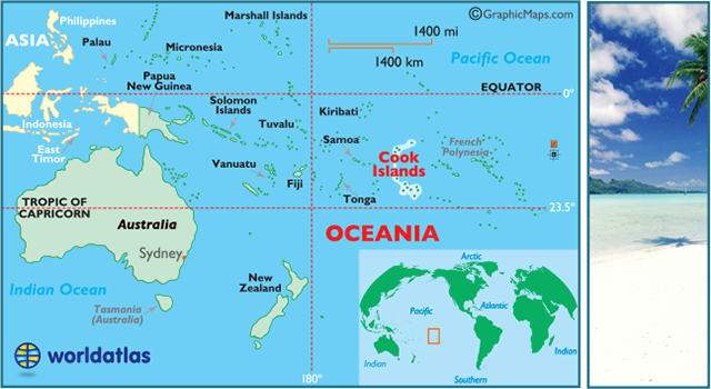 locator map of Cook Islands