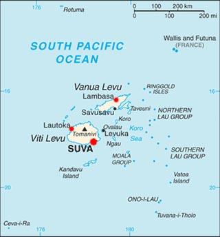 Fiji latitude and longitude map