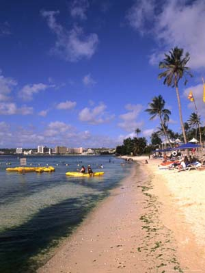 Beaches and Hotels along Tumon Bay, Guam, USA