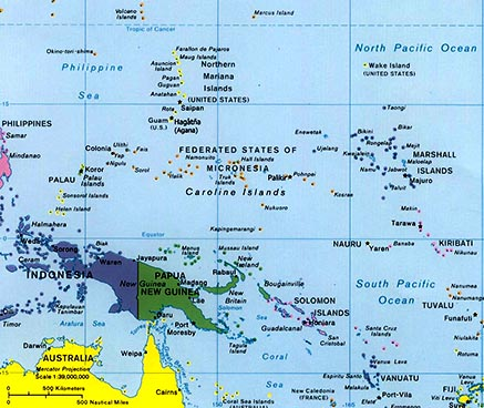 large map of oceania west pacific islands map