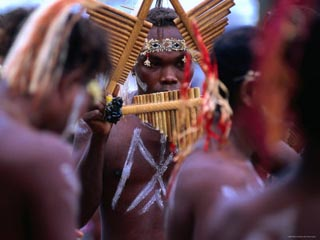Man Playing Panpipe, Malaita Island, Malaita, Solomon Islands