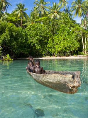Young Boys Fishing In The Marovo Lagoon Solomon Islands Pacific