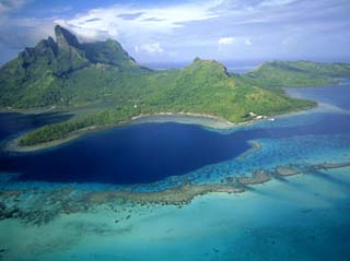 Aerial View, Tahiti, Bora Bora (Borabora), Society Islands, French Polynesia, South Pacific Islands