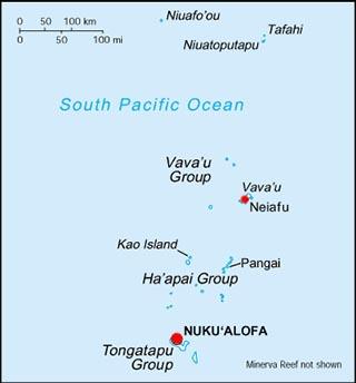 Tonga latitude and longitude map