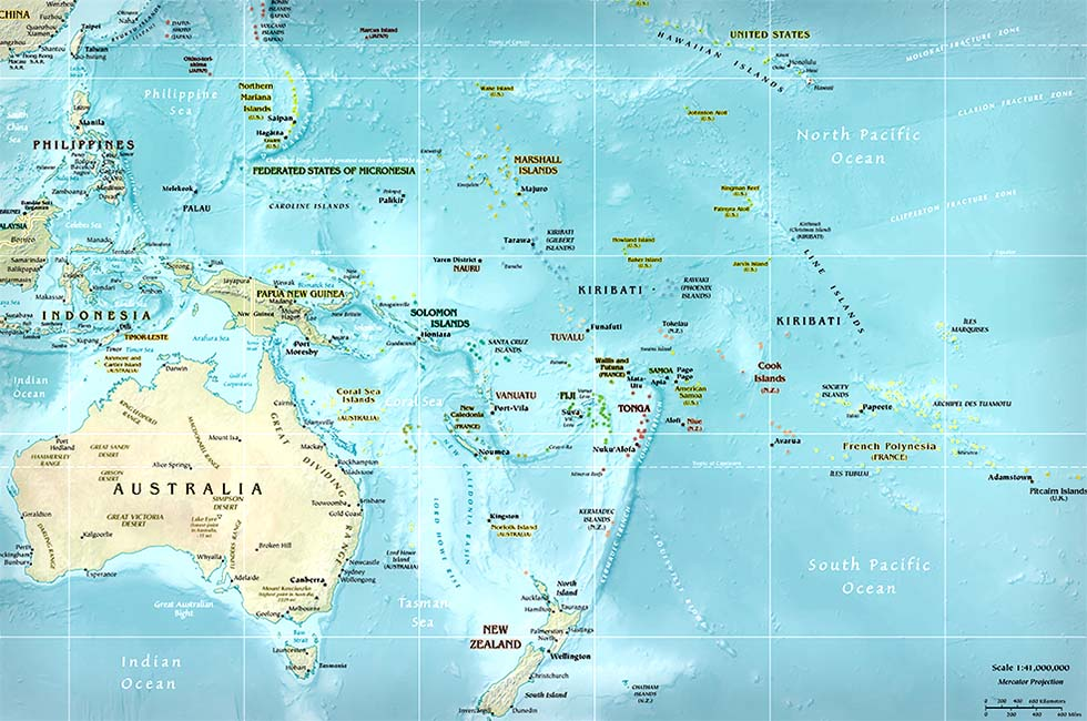 Midway On World Map.Australia Map Oceania Map Map Of Australia Map Of Oceania