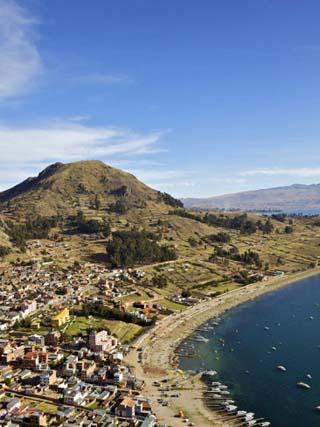 View of Copacabana and Lake Titicaca from Cerro Calvario, Copacabana, La Paz Department, Bolivia
