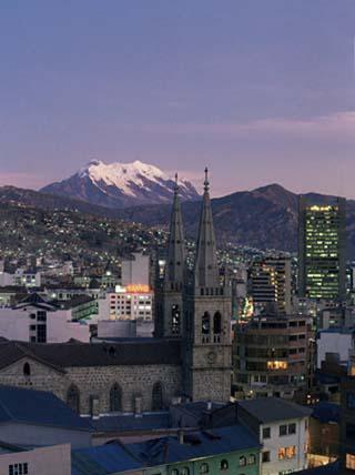 La Paz and Mount Illampu, Bolivia, South America