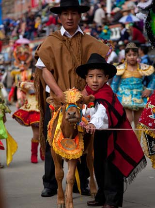 Young Boy and His Father with a Cow, Part of the Oruro Carnival Procession Parade, Oruro, Bolivia