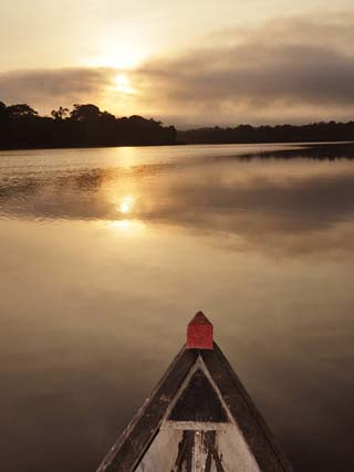 Boat on the Amazon River, Near Puerto Narino, Colombia