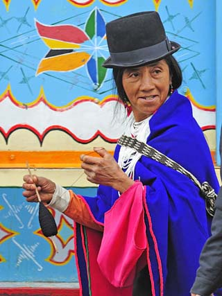 Woman at Indian Market in Silvia, Guambiano Indians, Colombia, South America