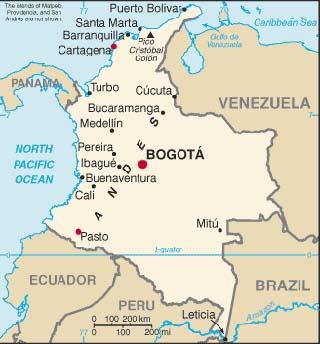 colombia latitude and longitude map