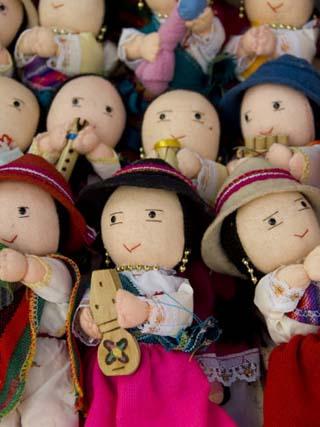 Typical Ecuadorian hand made dolls, Otavalo Market, Ecuador