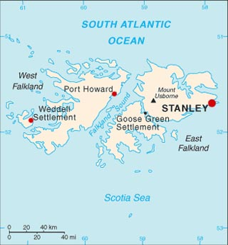 Falkland Islands latitude and longitude map