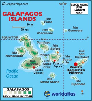 Galapagos Islands latitude and longitude map