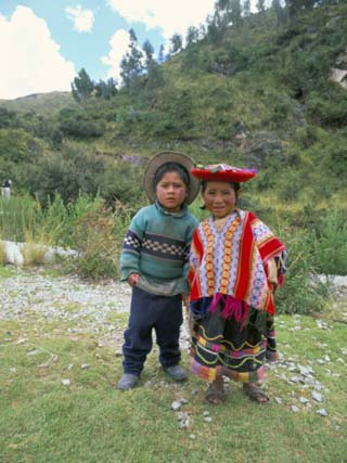 Two Children Near Machu Picchu, Peru, South America