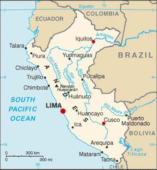 peru latitude and longitude map