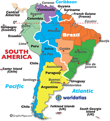 South America Time Zones Map - S america map