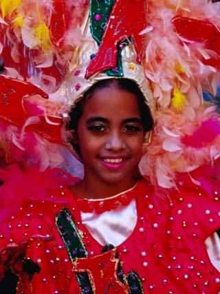 Young Girl from Folk Dance Group Preparing for Parade during Feria de la Chinita, Zulia, Venezuela
